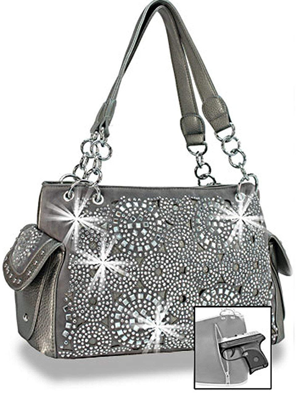 Get Quotations · Zzfab Firework Concealed Carry Purse Rhinestone Western  Handbag 409c3251bcb4d