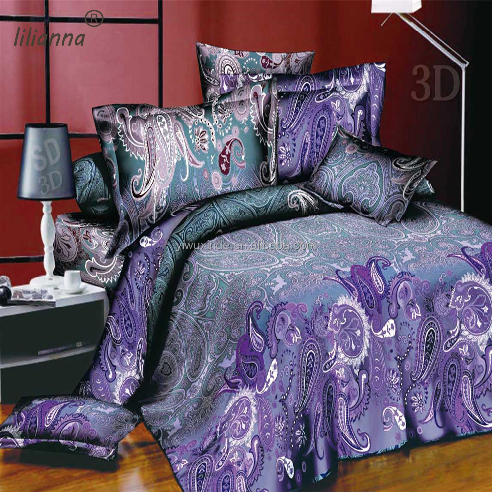 Indian Paisley style 3d bedding sets light purple fancy bedding sets made in China
