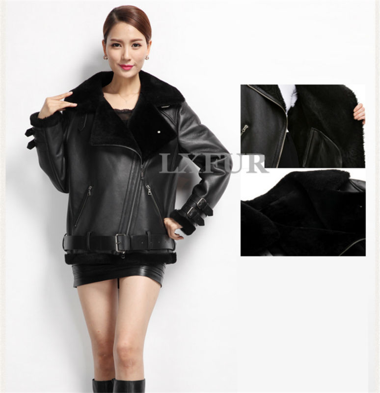 Super Cool! Womens Genuine Double-faced Lamb Fur Coat & Sheep Leather Jakcet Motorcycle Style Garment Loose Design LX00142