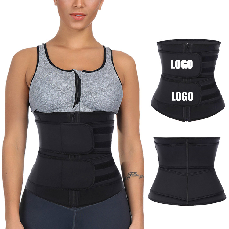 New Custom Print Logo Compression Straps Supportive Zipper Double Belt Latex Workout Waist Trainer Private Label