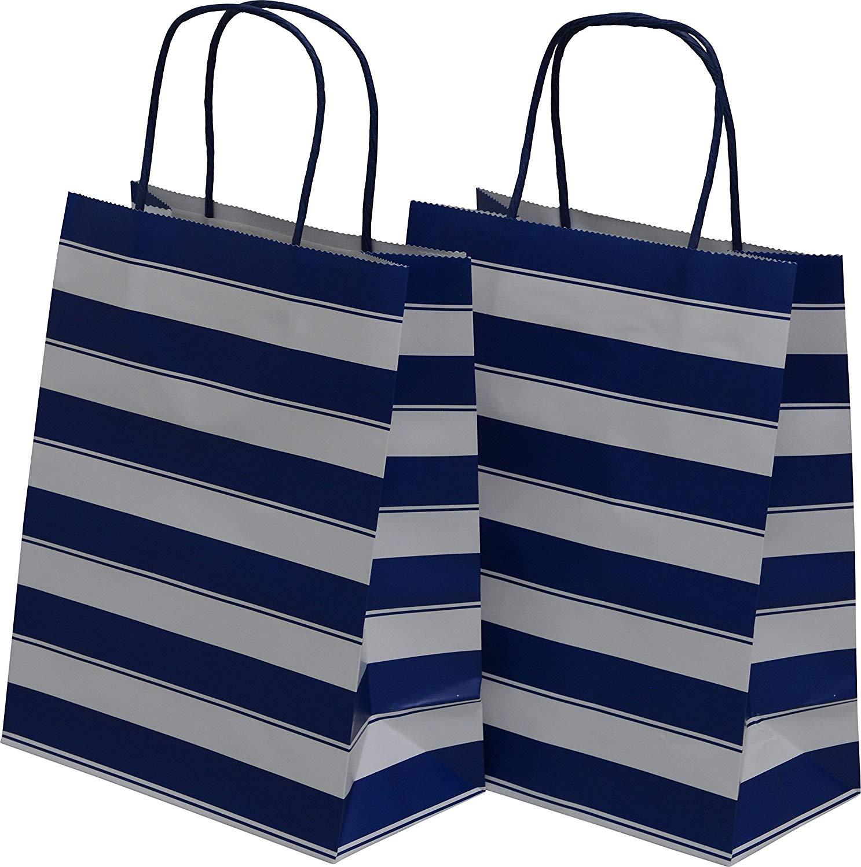 "Medium Kraft Gift Bag, Color Stripe Design with matching handles, 2 packs bulk set of 24 bags (Blue & White, Medium 8"" x 10"" x 4"")"