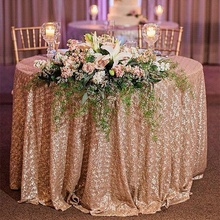 72 Inch Event Decor Linens custom Wedding dining banquet  Luxury Champagne Round Sparkly Glitter Sequin Table cloth