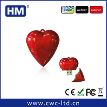 Plastic Heart shaped 4GB 8GB 16GB 32GB usb flash drive