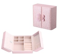 China Manufacturer Luxury Pink Leather Jewelry Storage Box Women Cosmetic Box With Bowknot