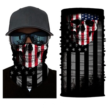 biker tube pirate plain black american flag cooling white bandana