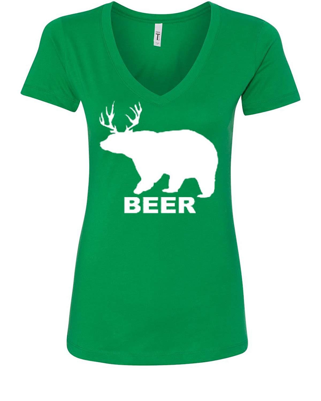 Bear + Deer = Beer Funny Drinking V-Neck T-Shirt Beer