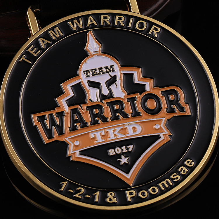 Promotional custom metal enamel gold warrior TKD 3d logo sports medal