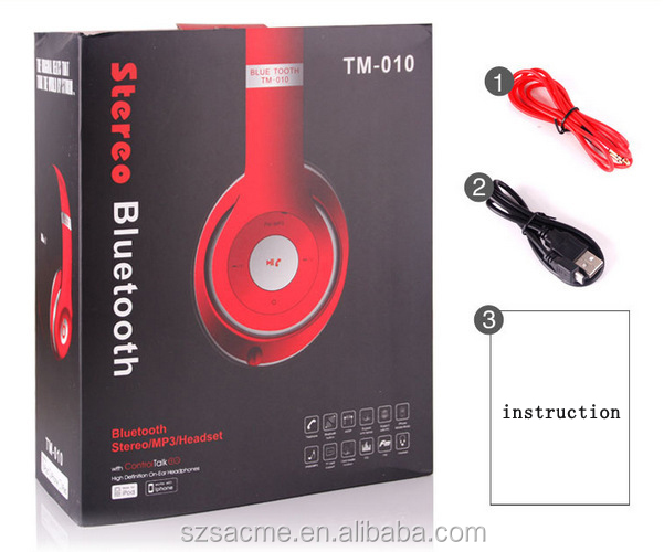 TM-010 Wireless Bluetooth HD Headphones Phone Tablet PC FM Radio TFcard Bluetooth Headset