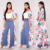 Mesh Tropical Printed Duster 3/4 Sleeve Chiffon Lightweight Maxi Sheer Duster Cardigan