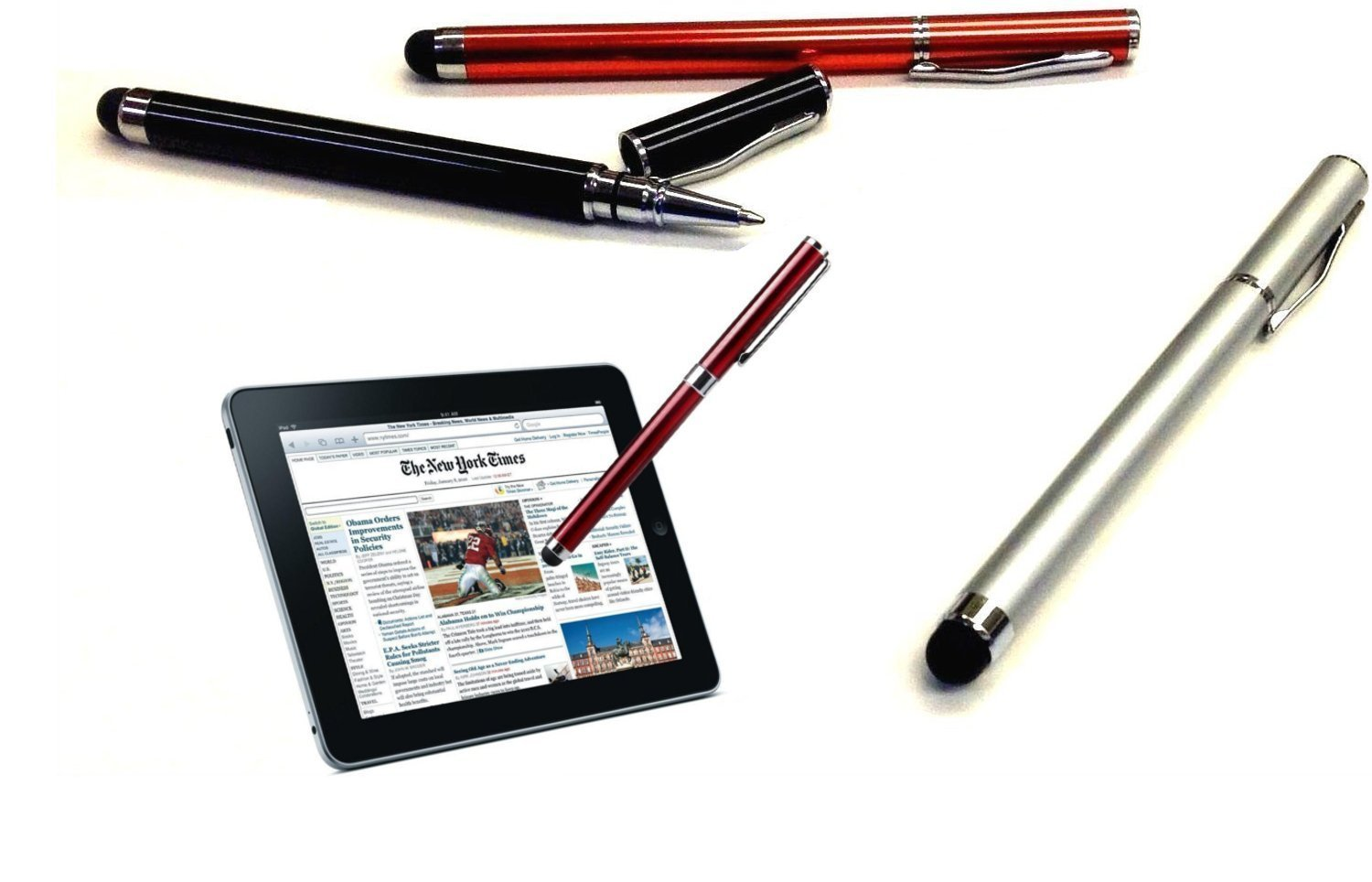 PRO Karbonn A1+ Duple Custom High Sensitivity Touch Stylus + Writing Pen with Ink! [3 Pack - Silver Red Black]