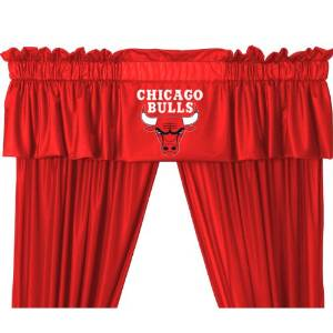 Set of 2 (Two) Chicago Bulls 5 Pc Valance/Drape Sets (Drapes Size 82 X 63) and Matching Wall Hanging - SAVE ON BUNDLING!