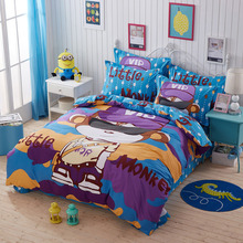 100% cotton adult kids cartoon printed 4pcs bedding set cartoon bedsheet for children