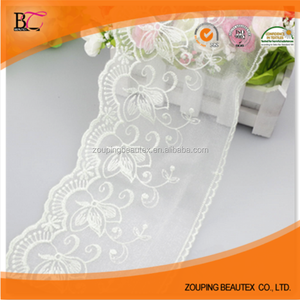 Cotton tulle lace fabric elastic and cotton eyelet lace trim wholesale for beautiful dress