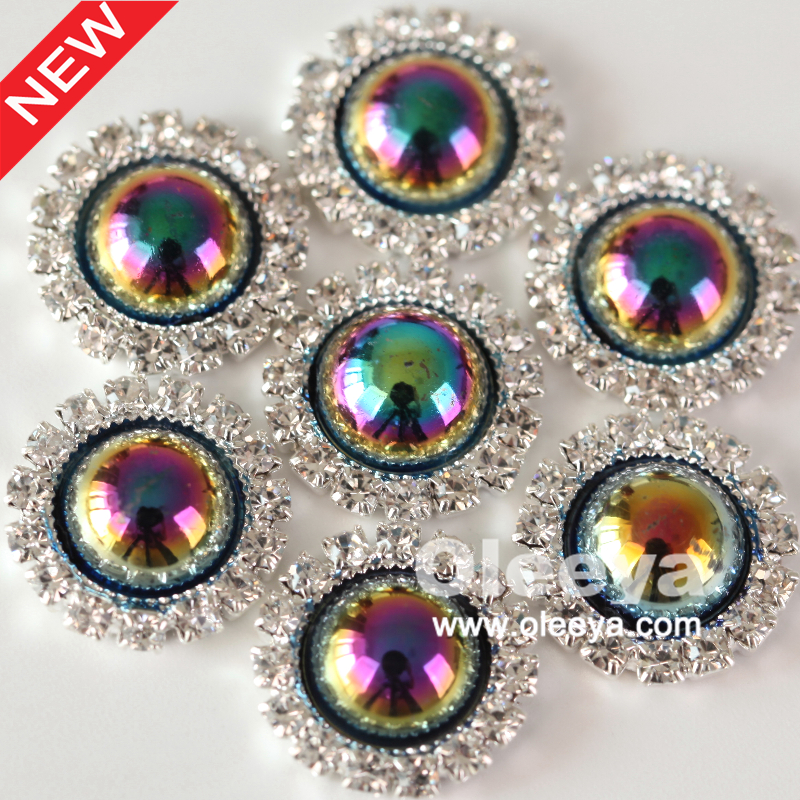 100pcs/lot 15mm Artificial Cute Half Pearl Buttons Jet AB Half Round Rhinestone Button For Wedding