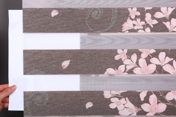 Low-cost sales zebra sakura pattern component roller blinds for sliding doors
