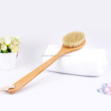 Natural bristle back scrubber with long wooden handle exfoliating bath dry body brush
