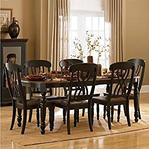 TRIBECCA HOME Mackenzie Country Antique Dining Set with Extending Dining Table (Antique Black)