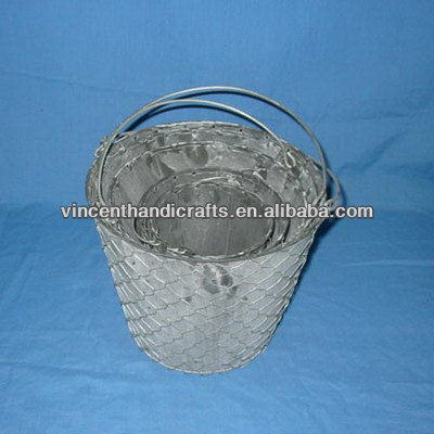 Garden decoration outside wire weave holder tin bucket with handle planter for flower