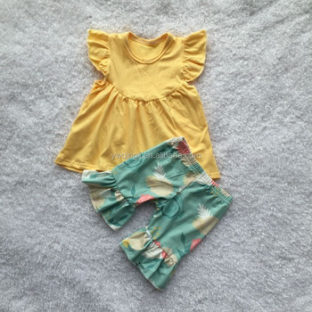 Summer Outfit Light Yellow Flutter Tunic Match Single Ruffle Floral Printing Capris Baby Set