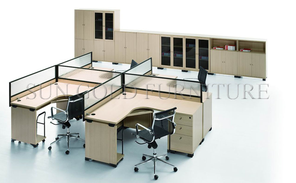 Top Call Center Open Layout 4 Seat Office Workstation