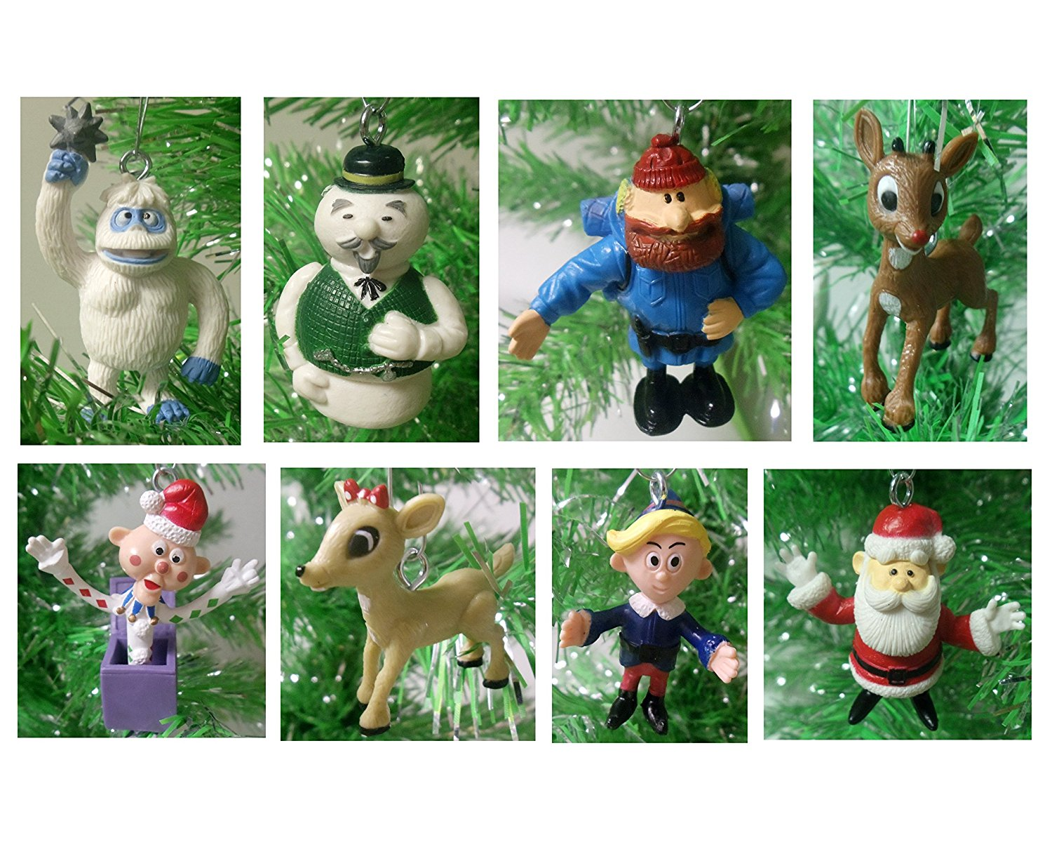 """Rudolph the Red-Nosed Reindeer 8 Piece Holiday Christmas Ornament Set Featuring Yukon Cornelius, Santa, Sam the Snowman, Charlie-In-The-Box, Clarice, Hermey, Bumble, and Rudolph - Shatterproof Ornaments Range from 2"""" to 3"""" Tall - Perfect for Small Kids Tree or Desk Office Tree"""