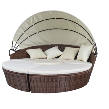 Outdoor Furniture Wicker Sofa With Retractable Canopy Round Rattan Beach Daybed