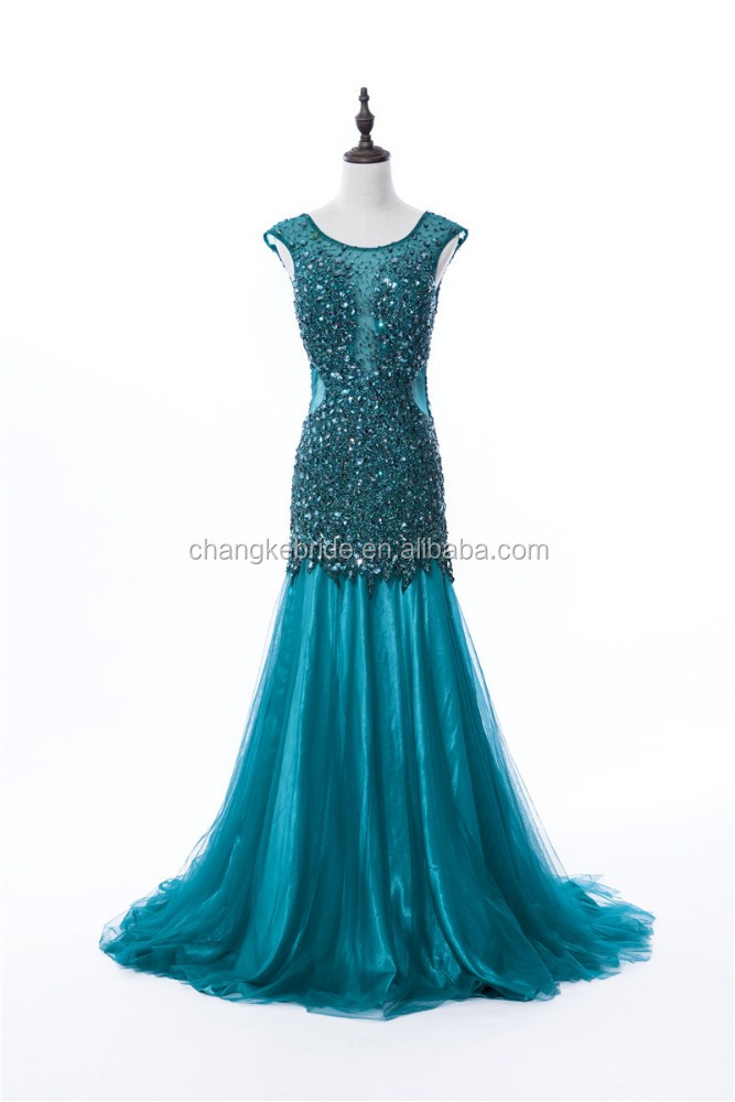 High Quality Custom Made Long Lace Evening Dress Big Size Beads Crystal Dress For Formal Occasion