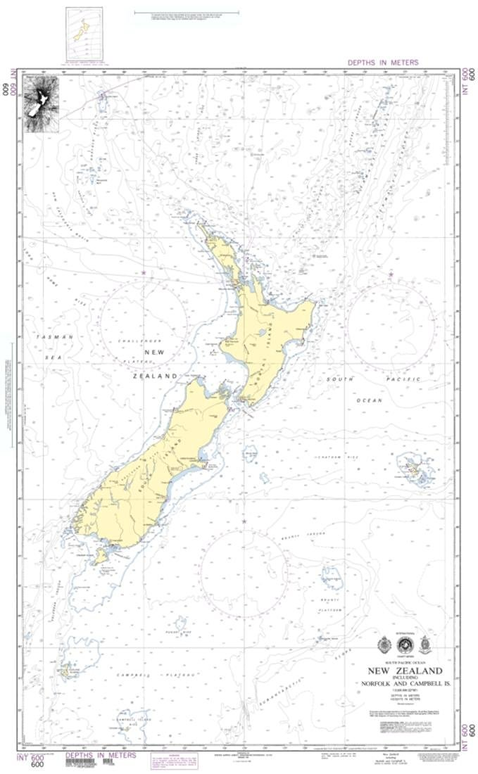 NGA Chart 600-New Zealand, Including Norfolk And Campbell Islands