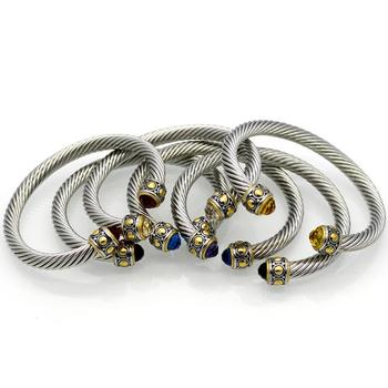 Us Popular Stainless Steel Cable Cuff Bangle Bracelet For Men
