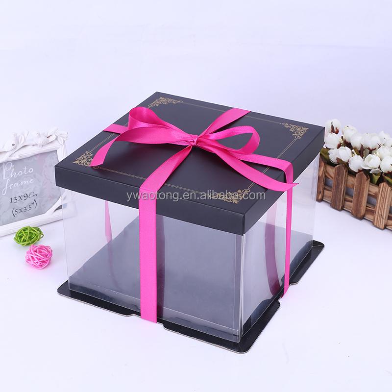 High Quality Tall Wedding Cake Box Transparent With Customer Design