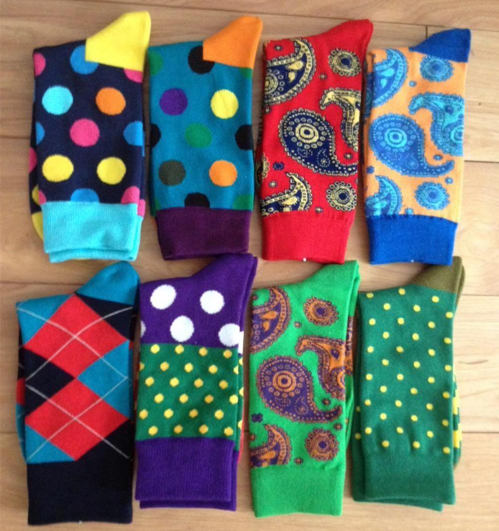 Men Colorful Happy Combed Cotton Dress Socks, Man Business Crew and Dress Socks