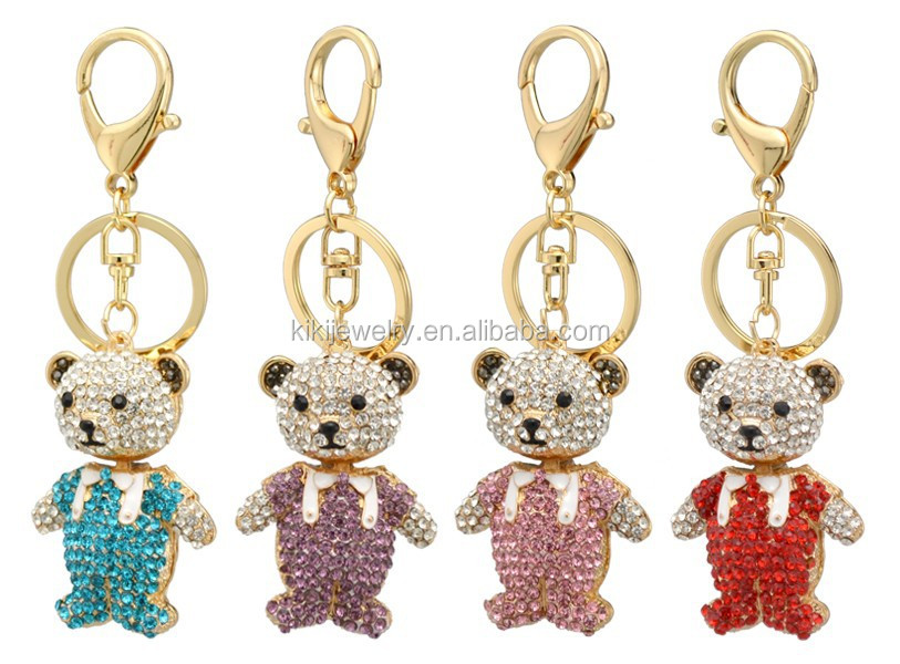 custom made golden plated metal alloy colorful crystal doll bears keychain for souvenir