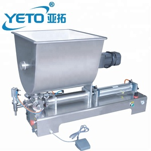 YETO Factory supply price CE Certificate semi automatic jam chilli sauce filling machine tomato paste filler with mixer hopper