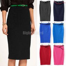 Fashion Womens Ladies High Waist Midi Bodycon Slim Pencel Tube Stretch Skirt Free Shipping