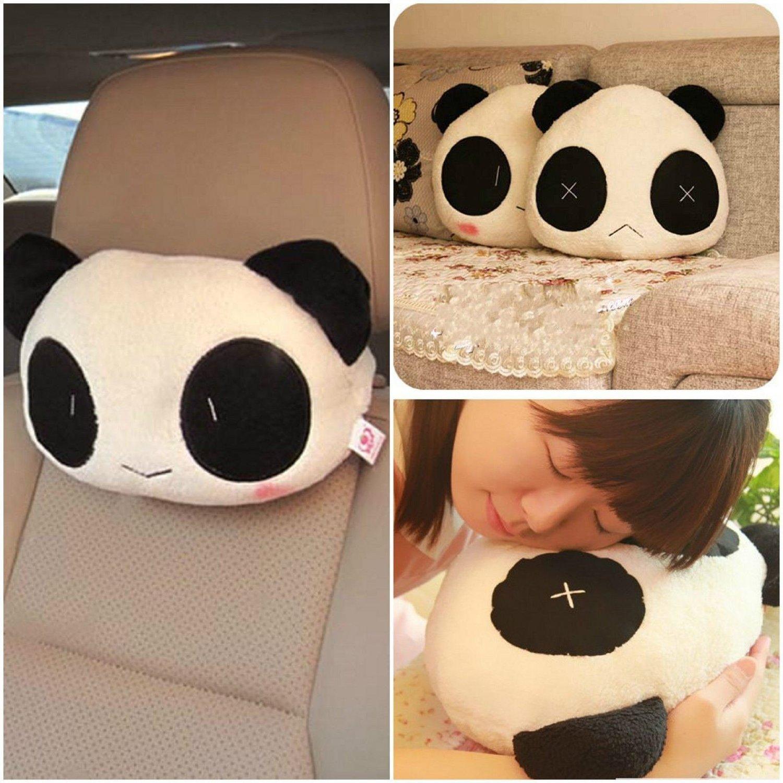 2pcs Cartoon Cute Panda Plush Auto Car Seat Headrest Neck Rest Cushion Pillow