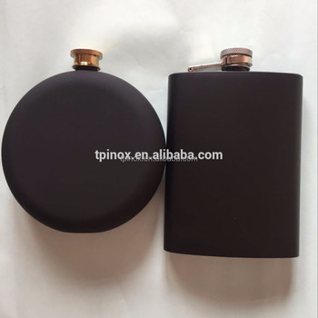 10oz black rubber paint stainless steel hip flask classic wine flagon