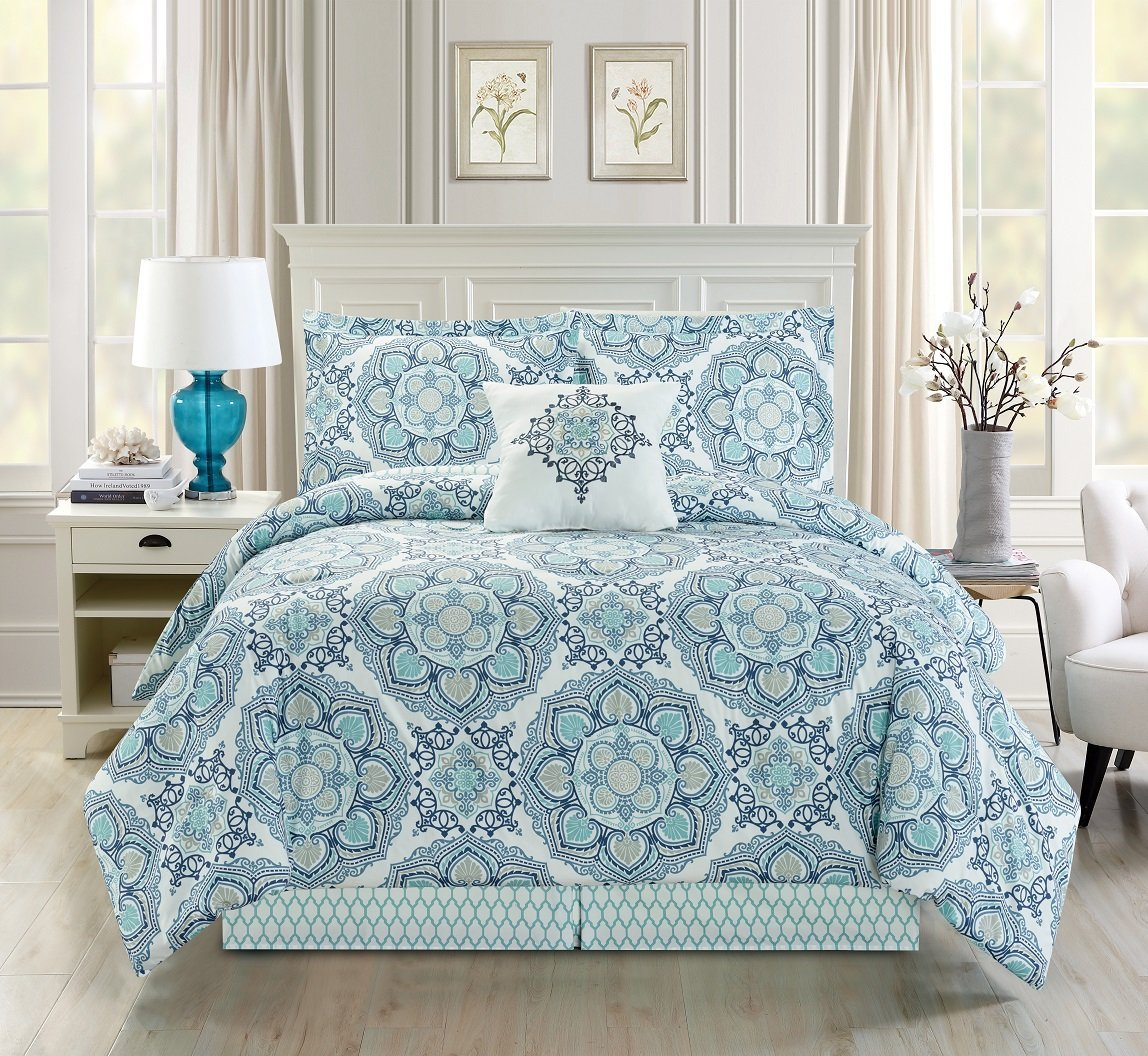 kitchen comforter com chevron king teal dp home set amazon piece