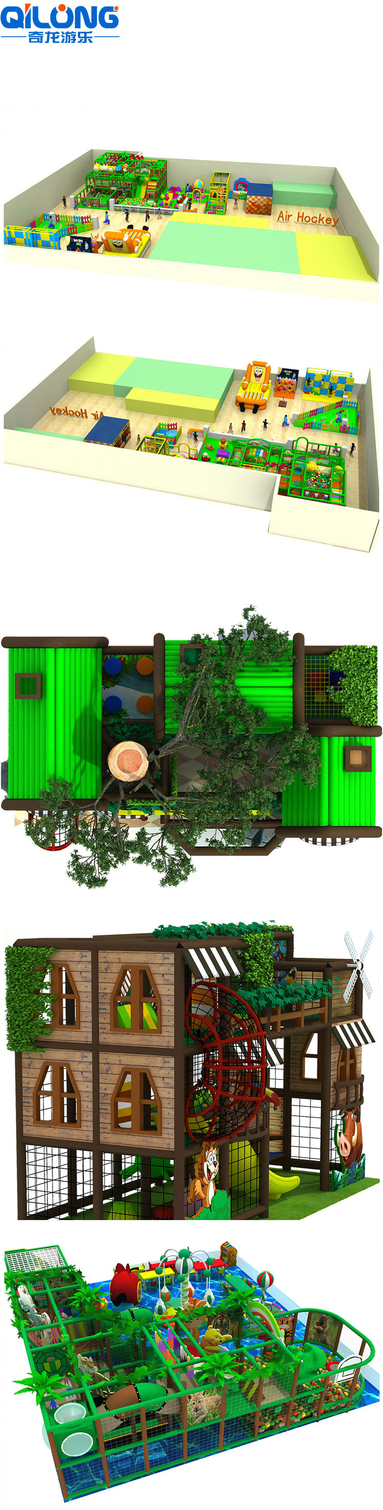 Tree House Theme Slide Jungle Indoor Playground Systems