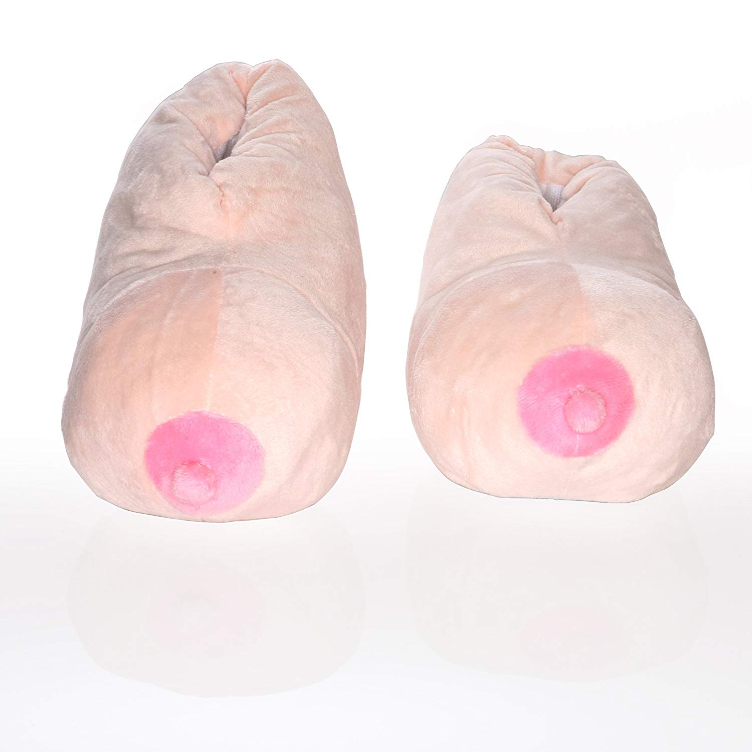 0a971b9ac Get Quotations · Deluxe Comfort Booby Bedroom Slippers, Large - Fun Unique  Gag Gift - Perfect For College