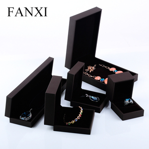 FANXI Wholesale Cheap Custom Jewelry Set Ring Bracelet Necklace Gift Box Plastic Soft Leatherette Paper Jewelry Box