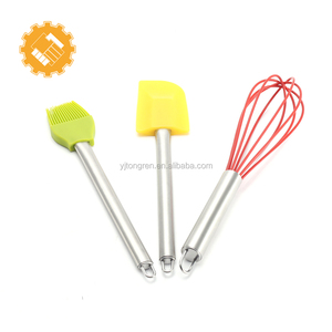 3pcs Silicone Bakeware Set Professional Spatulas Whisk Brush with Stainless Steel Handle