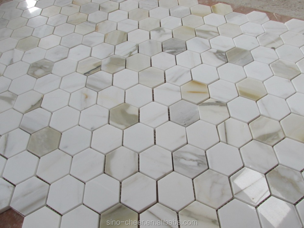 Calacatta Gold Italian Calcutta Marble Hexagon Mosaic Tile