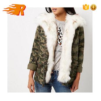 Winter Women Khaki Camo Print Faux Fur Lined Army Denim Jacket Buy