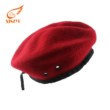 2018 wholesale cheap 100% wool black/red berets for man