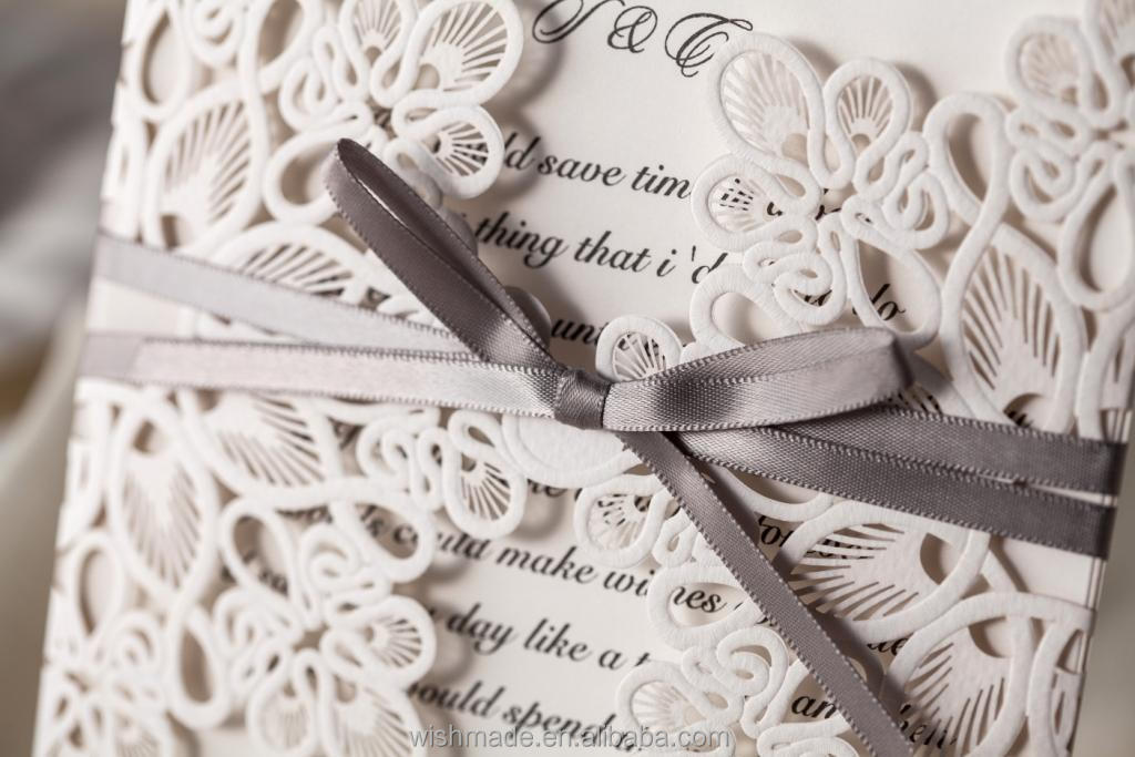 2017 New Laser Cut Wedding Invitation Card Design With Lined Envelope Free Printing Wm207