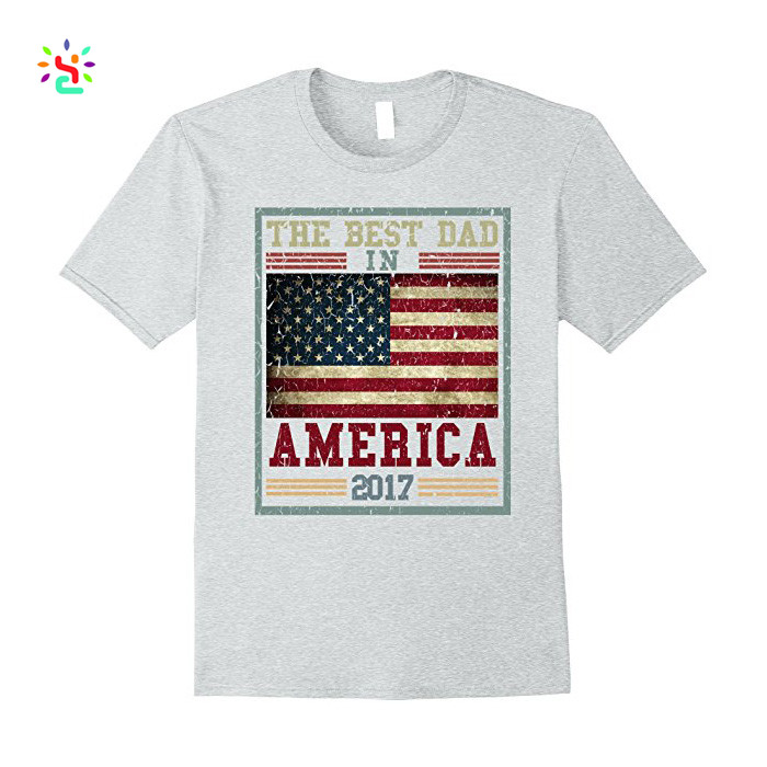 New Apparel father's day gift tshirt the best dad in america flag pattern patch combed cotton tee shirt