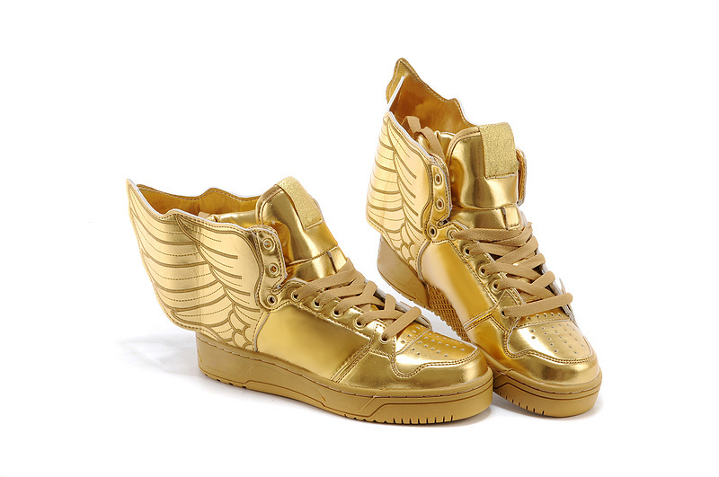 Black Shoes With Gold Wings