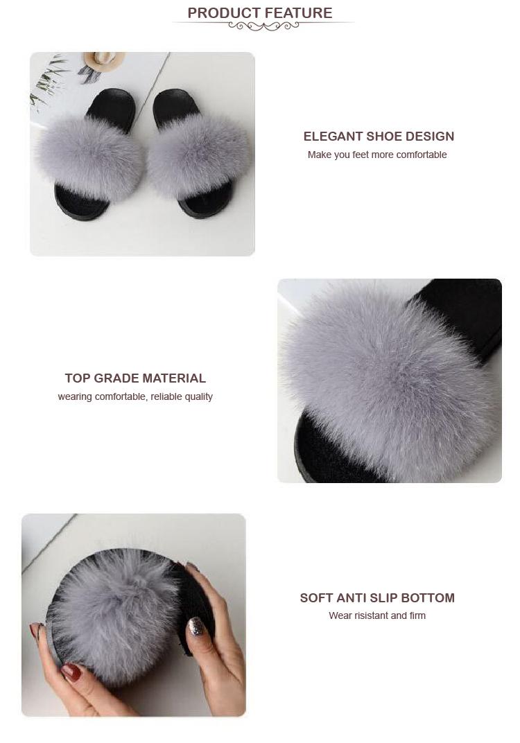 Natural Customized wholesale fashion fur slipper fox fur slipper