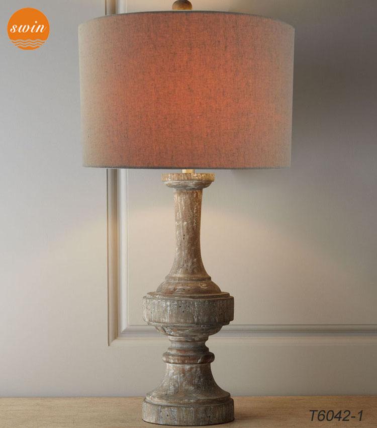 New mediterranean vintage wood table lamp baselinen drum shade new mediterranean vintage wood table lamp baselinen drum shade hotel desk lamp in china aloadofball Images