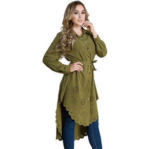 2018# In Stock Latest Design Arabic Long Tunic Tops Kaftan Muslim Wear Women Clothing Blouse 2018